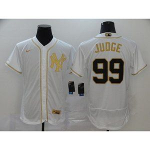 New York Yankees Aaron Judge White Gold  Jersey